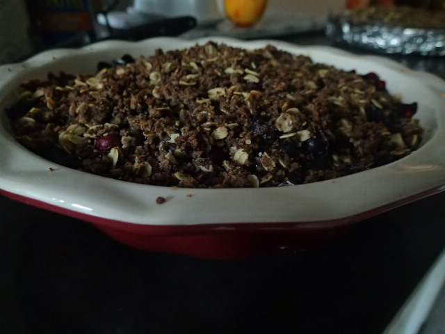 Blueberry Crumble (an Easy to Make Recipe) - Baked sideview